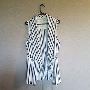 Stitch Fix Cream Striped wrap Sleeveless w/ belt
